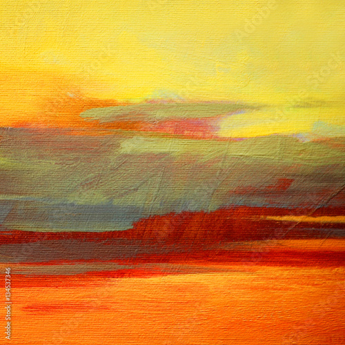 abstract landscape oil painting on canvas for interior, illustra