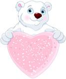 Polar Bear Holding Heart Shape Sign