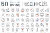 Fototapety Set Vector Flat Line Icons School