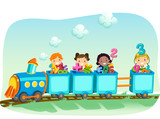 Stickman Kids Math Train Numbers