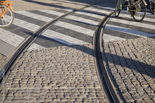 Poster Tram Track, Amsterdam, Holland