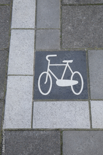 Poster Bikes Lane Symbol, Amsterdam