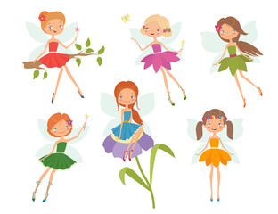 Cartoon character set of cute little fairies