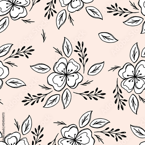 Tapeta Beautiful seamless pattern with spring flowers. Can be used for wrapping paper, invitation card for wedding, wallpaper and textile.