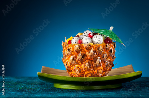 Exotic fruit salad of pineapple, dragon fruit and pomegranate Poster