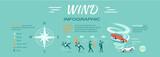 Wind Infographic Flat Design Vector Illustration