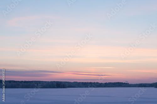 Poster Serene sunset sky at winter