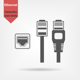 Ethernet connectors and socket with cable symbol for download. Vector icons for video, mobile apps, Web sites and print projects. - 134571373