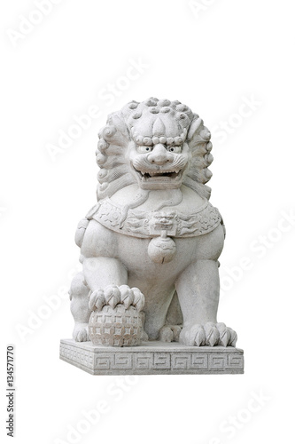 Chinese Imperial Lion Statue, Isolated on white background. Poster
