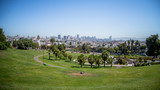 San Francisco, CA, USA - July 25, 2014: Panorama of Dolores Park, with Downtown San Francisco in Background