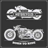 Fototapety Set of motorcycles. Emblems of bikers club. Vintage style. Monochrome design.