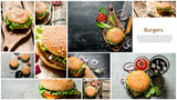 Food collage of burger .