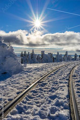 Poster Bahngleise im Schnee