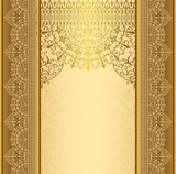 Vertical background with gold filigree frame border Background oriental gold with lace ornaments - 134578145
