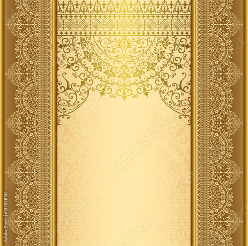 Fototapeta Vertical background with gold filigree frame border Background oriental gold with lace ornaments
