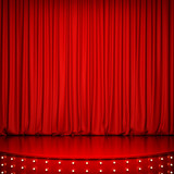 Red glossy stage with lighting and red curtain. 3D rendering - 134584195