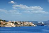 old Corfu town and cruiser ship summer season