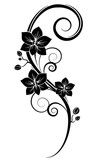 Orchids wall tattoo black