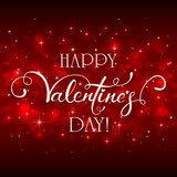 Happy Valentines Day with hearts on red background