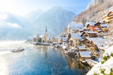 Fototapety Classic view of Hallstatt with ship in winter, Salzkammergut, Austria