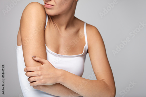 Arms Pain. Beautiful Woman Body Feeling Pain In Shoulders