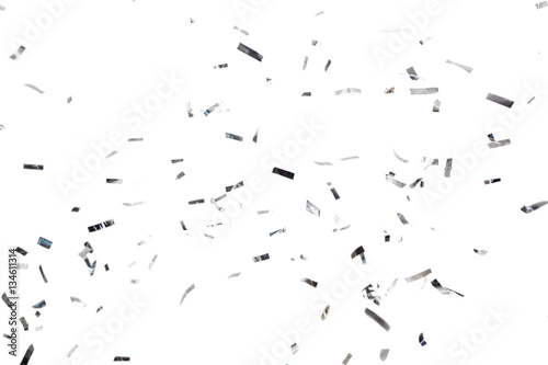Foto Murales silver confetti over white background