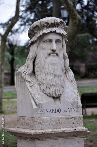 Statue of Leonardo da Vinci in Villa Borghese gardens Poster