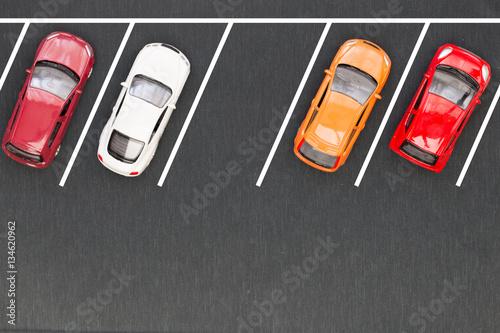 Top view of parking lane