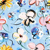 floral seamless pattern background, with strokes and splashes, s