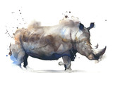Rhinoceros african safari animal watercolor painting illustration isolated on white background - 134631725