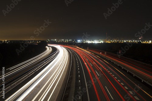 Poster Nacht snelweg Speed cars at night