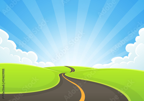 Foto op Aluminium Blauw Country Road Snaking With Blue Sky And Sunbeams
