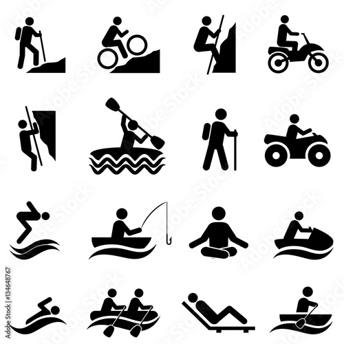 Leisure and outdoor recreational activities icons