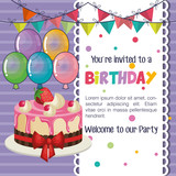happy birthday party invitation with balloons air and sweet cake