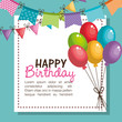 happy birthday party invitation with balloons air vector illustration design