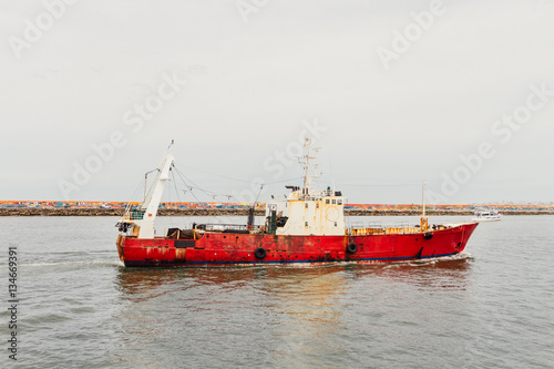Poster Fishing boat entering the port of Mar del Plata, Argentina
