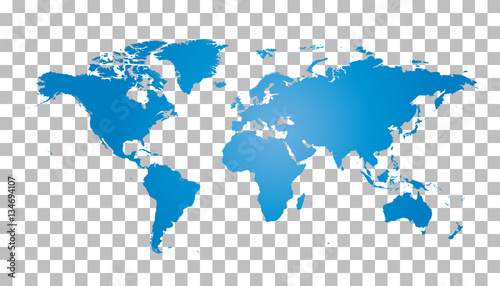 Fototapeta Blank blue world map on isolated background. World map vector template for website, infographics, design. Flat earth world map illustration