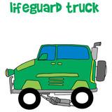 Lifeguard truck collection transportation vector