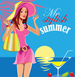 my stylish summer, fashion girl, woman in hat