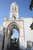 Historic town gate in Megalochori, Santorini Island, Greece