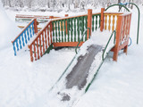 Playground covered with snow in a sanatorium