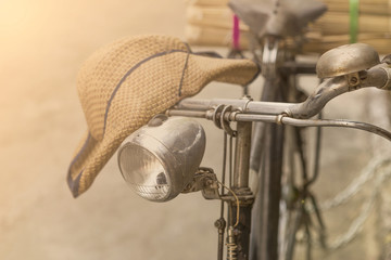 Vintage concept background, Old bicycle with vintage filter
