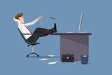 Funny vector illustration businessman relaxing between work