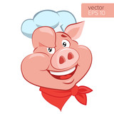 Fototapety Bbq Theme. Lucky Cook. I Know How To Cook. Smile Pig Chef Head Cartoon Vector Illustration. Pig Cook Character On A White Background.