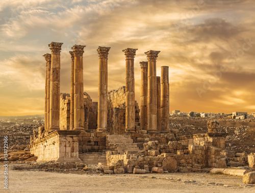 Staande foto Athene Temple of Artemis in the ancient Roman city of Gerasa at the sunset, preset-day Jerash, Jordan