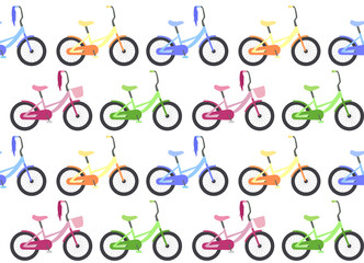 Seamless texture with children's bicycles in a row. Vector background for your creativity