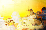 Vintage postcard of famouse sunset of Oia with windmill, Santorini