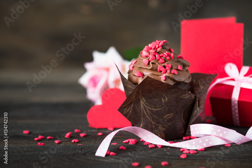 Poster Chocolate cupcake with whipped cream for Valentine's Day