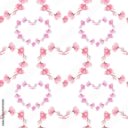 Seamless pattern with watercolor hearts of pink flowers, hand drawn on a white background - 134742580