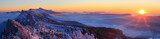 Snow covered mountainrange, Vercors, France, during a winter sunrise. - 134743962